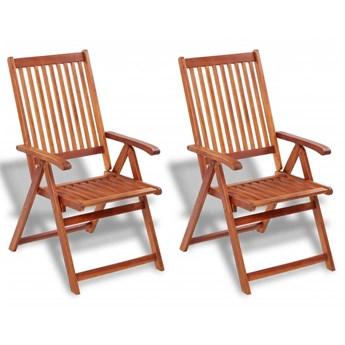 Składane krzesła ogrodowe, 2 szt., lita akacja, brązowe