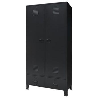 Metalowa szafa w industrialnym stylu, 90 x 40 x 180 cm, czarna