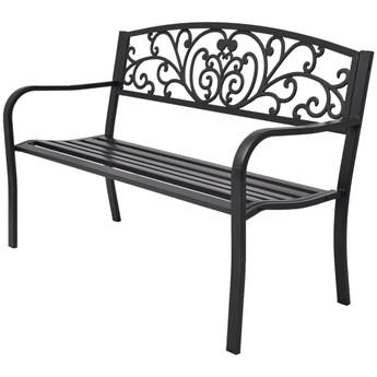 Ławka ogrodowa, 127 cm, żeliwna, czarna