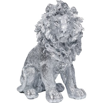 Figurka dekoracyjna Sitting Lion 34x42 cm srebrna