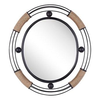 Lustro ścienne jasne drewno okrągłe 60 cm ręcznie wykonane geometryczna rama rustykalne