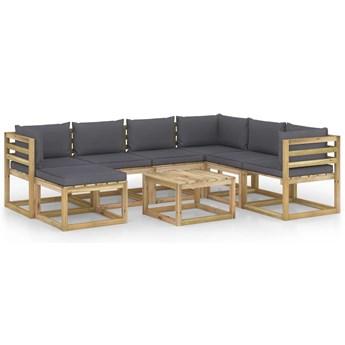 vidaXL 8-cz. zestaw wypoczynkowy do ogrodu, z poduszkami, drewniany