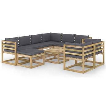 vidaXL 10-cz. zestaw wypoczynkowy do ogrodu, z poduszkami, drewniany