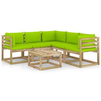 vidaXL 6-cz. zestaw wypoczynkowy do ogrodu, jasnozielone poduszki