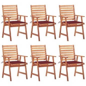 vidaXL Krzesła ogrodowe z poduszkami, 6 szt., lite drewno akacjowe