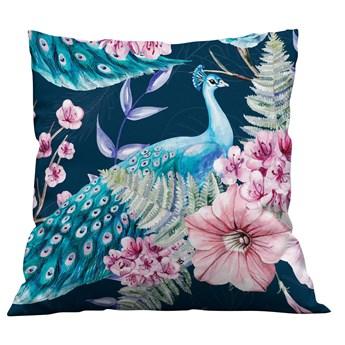 Piękna poszewka na poduszkę Pawie i kwiaty kolor granat