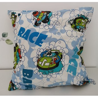 Poszewka na poduszkę samochody RACE 100% bawełna 40x40 j. nieb