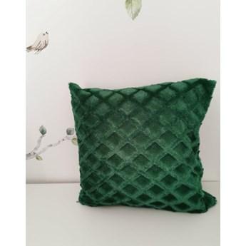 Poszewka na poduszke pluszowa romb ciemno zielona 40x40