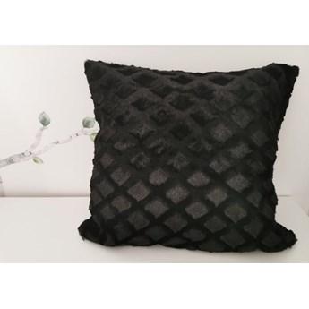 Poszewka na poduszke pluszowa romb kolor czarny 40x40