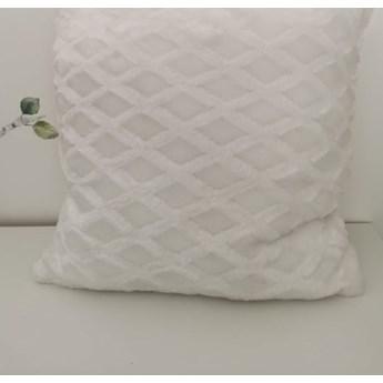 Poszewka na poduszke pluszowa romb kolor biały 40x40
