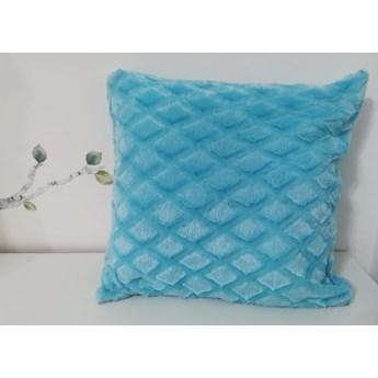 Poszewka na poduszke pluszowa romb niebieski 40x40
