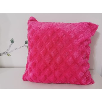 Poszewka na poduszke pluszowa romb róż/amarant 40x40