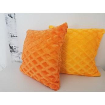 Poszewka na poduszke  pluszowa romb c. pomarańcz 40x40