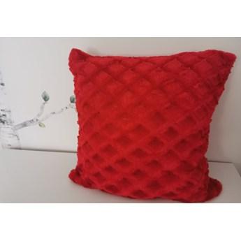 Poszewka na poduszke pluszowa romb czerwona 40x40