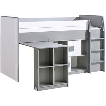 GM19 Łóżko piętrowe z biurkiem i szafką COMI popiel + biały
