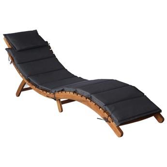 Leżak z poduszką, lite drewno akacjowe, ciemnoszary