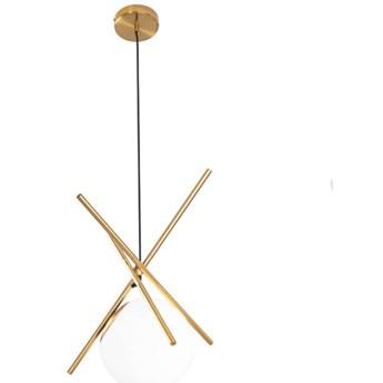 Loftowa LAMPA wisząca XENA P0403 Maxlight metalowa OPRAWA szklana kula zwis mosiądz biały