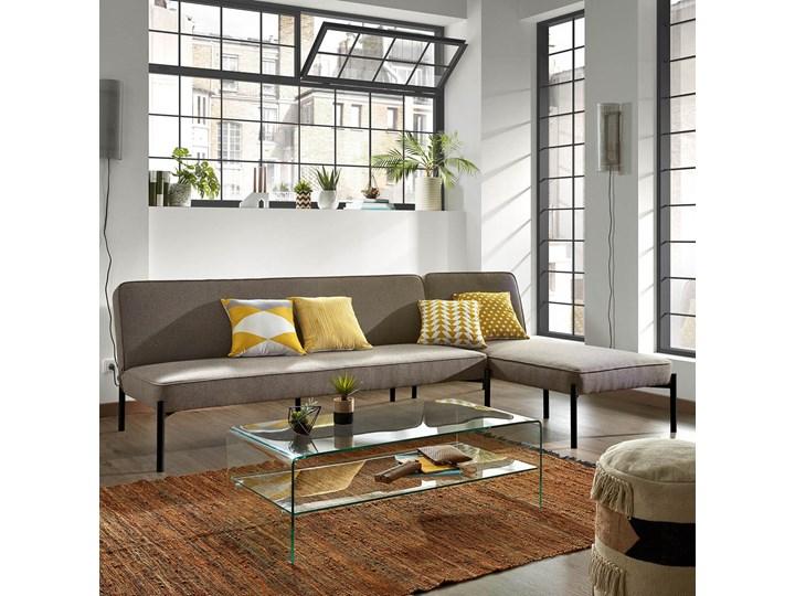 Rozkladana sofa i szezlong Nelki w kolorze szarym Stała konstrukcja Nóżki Na nóżkach Typ Gładkie