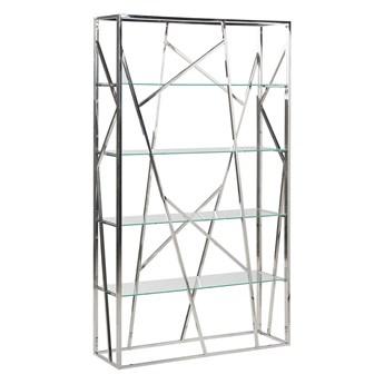 Regał srebrny 4 półki szkło hartowane rama stal nierdzewna 175 x 100 cm styl glam dekoracyjny