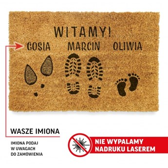 """Wycieraczka do DOMU """"WITAMY"""" + TWOJE IMIONA"""