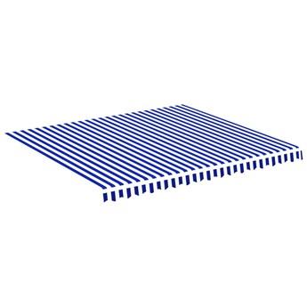 vidaXL Zapasowa tkanina na markizę, niebiesko-biała, 4x3,5 m