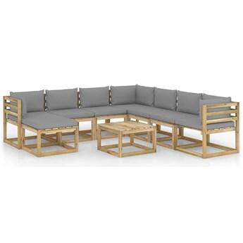 vidaXL 9-cz. zestaw mebli ogrodowych z poduszkami, impregnowana sosna