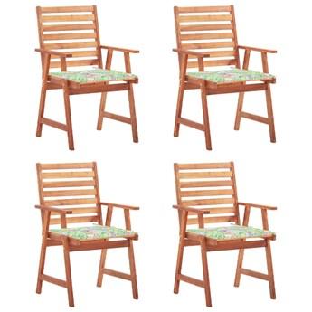 vidaXL Krzesła ogrodowe z poduszkami, 4 szt., lite drewno akacjowe