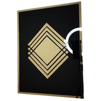 Złoty lustrzany obraz geometryczny wzór 4 kwadraty 30x40 cm Złota ramka Bez mocowania