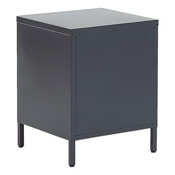 Stolik nocny szary stal nierdzewna szafka nocna z 2 szufladami industrialny design meble do przechowywania w sypialni