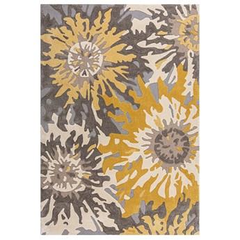 SELSEY Dywan syntetyczny Soft Floral z motywem kwiatów szary/ochra