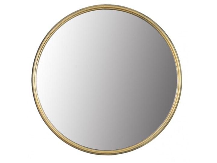 Lustro okrągłe w złotej metalowej ramie 40 cm Styl Glamour
