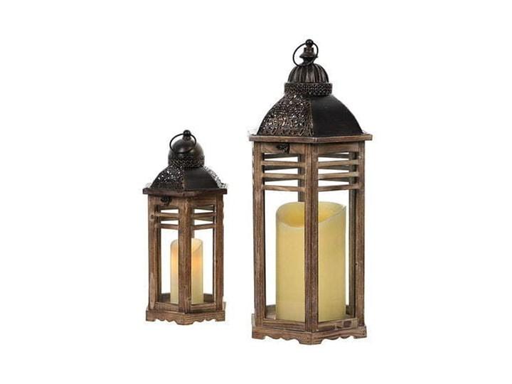 KOMPLET DREWNIANYCH LATARNI RETRO BRĄZ 2SZT Drewno Kolor Brązowy Metal Świeca Kategoria Świeczniki i świece