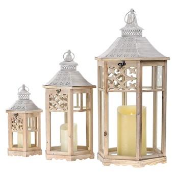 DREWNIANA LATARNIA LAMPION SHABBY COTTAGE 3SZT.