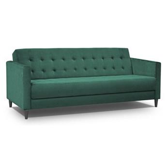 Sofa 3-osobowa rozkładana butelkowa zieleń na drewnianych nogach 208x88cm