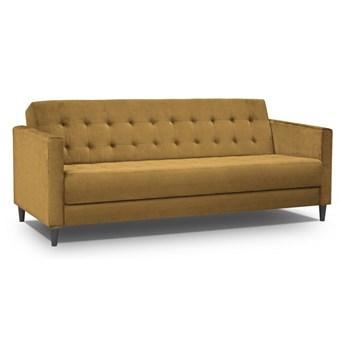 Sofa 3-osobowa rozkładana musztardowa na czarnych nogach 208x88cm