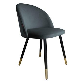 Krzesło tapicerowane Colin z złotymi nogami szare