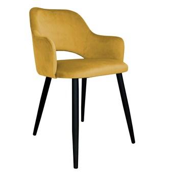 Krzesło tapicerowane Milano w kolorze miodowym na czarnych nogach