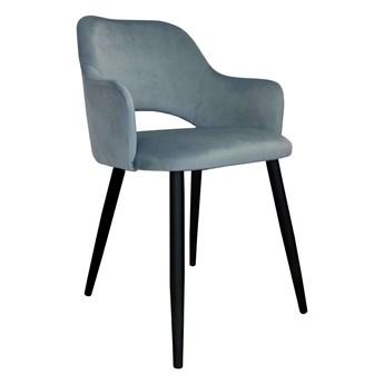 Krzesło tapicerowane Milano w kolorze szarym na czarnych nogach