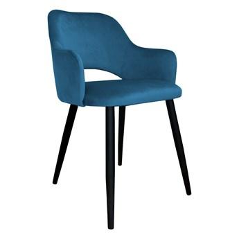 Krzesło tapicerowane Milano w kolorze niebieskim na czarnych nogach