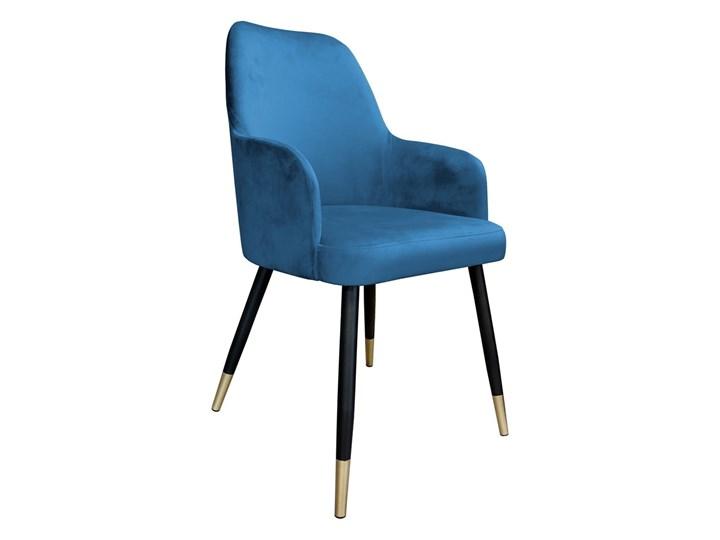 Krzesło Tapicerowane Westa w kolorze niebieskim na złotych nogach Kategoria Krzesła kuchenne Tworzywo sztuczne Metal Tkanina Kolor Szary