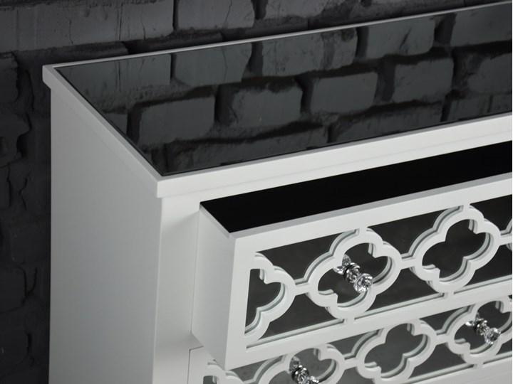 Komoda lustrzana glamour wzór marokański Głębokość 35 cm Lustro Szerokość 78 cm Z szufladami Płyta MDF Wysokość 78 cm Kolor Biały