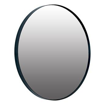 Okrągłe czarne lustro w metalowej czarnej ramie 70cm