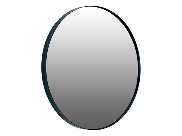 Okrągłe czarne lustro w metalowej czarnej ramie 60cm Ścienne Kolor Czarny