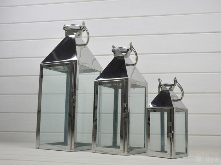 KOMPLET LATARNI METALOWYCH LAMPIONY CHROMOWANE 3SZT Świeca Kategoria Świeczniki i świece