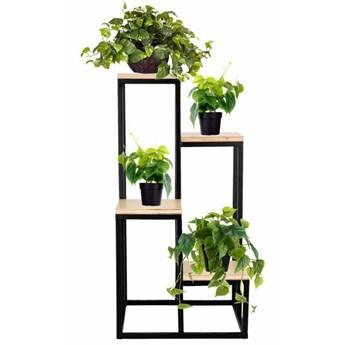 Stojący kwietnik 80 cm stojak z miejscem na 4 doniczki na kwiaty nowoczesny loft czarny mat
