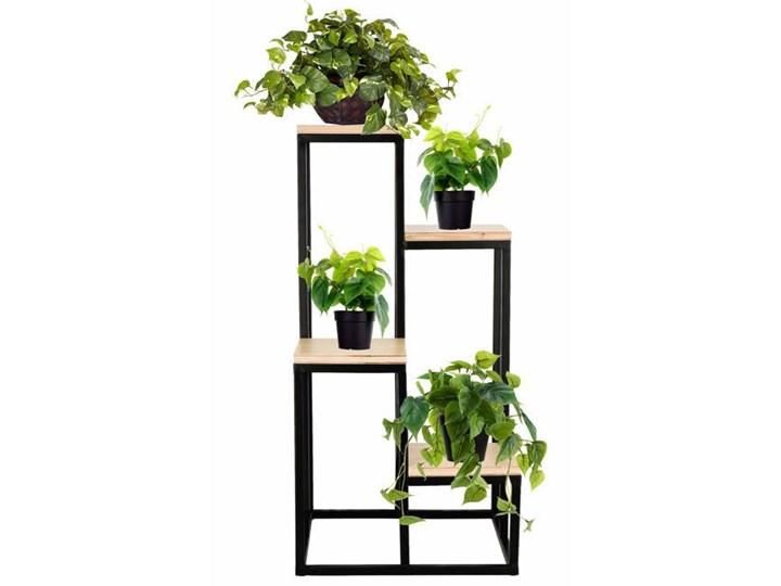 Stojący kwietnik 80 cm stojak z miejscem na 4 doniczki na kwiaty nowoczesny loft czarny mat Doniczka na kwiaty Drewno Metal Kategoria Doniczki i kwietniki