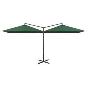 vidaXL Podwójny parasol na stalowym słupku, zielony, 600x300 cm