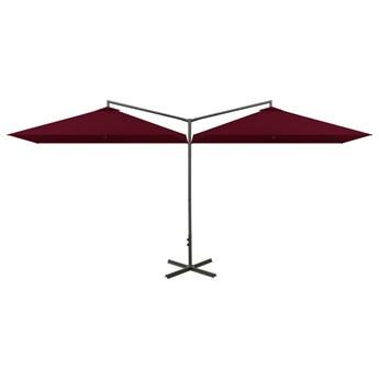 vidaXL Podwójny parasol na stalowym słupku, bordowy, 600x300 cm