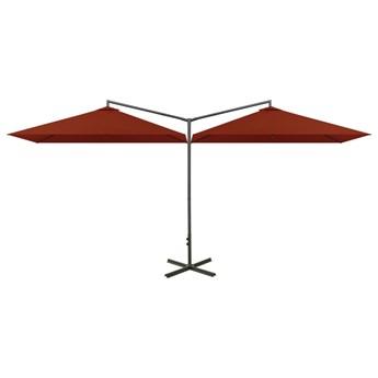 vidaXL Podwójny parasol na stalowym słupku, terakotowy, 600x300 cm