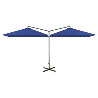 vidaXL Podwójny parasol na stalowym słupku, lazurowy, 600x300 cm